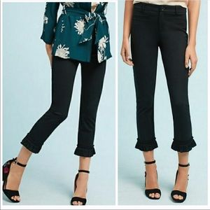 Anthro Cartonnier cropped pant with ruffle hem